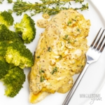 Plate of dijon chicken with mustard cream sauce