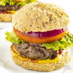 Close-up photo of keto burger buns on a burger