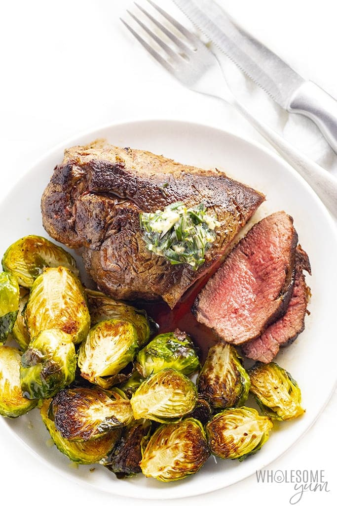 Plated filet mignon recipe with brussels sprouts