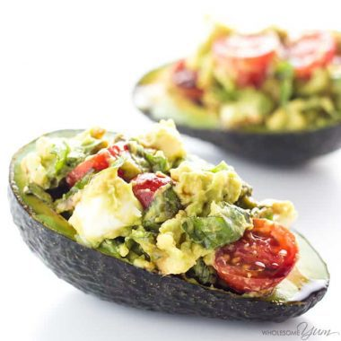 Caprese Stuffed Avocado Recipe (Low Carb, Gluten-free) - This easy Caprese stuffed avocado recipe is healthy & delicious! It's so simple to make with common ingredients you probably have right now. Detail: caprese-stuffed-avocado-recipe-low-carb-gluten-free-img_4998