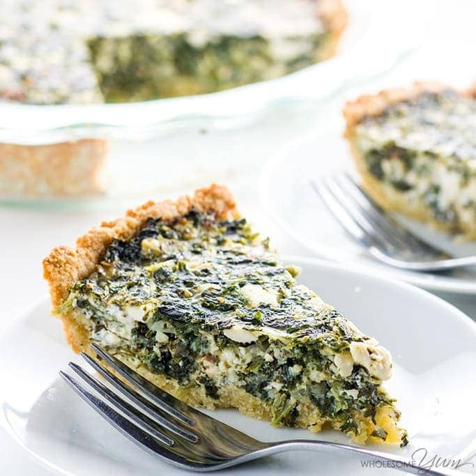 This Greek spinach pie recipe is rich and cheesy, but unbelievably low carb & gluten-free. It's a healthy, easy spinach feta pie you'll make over and over!
