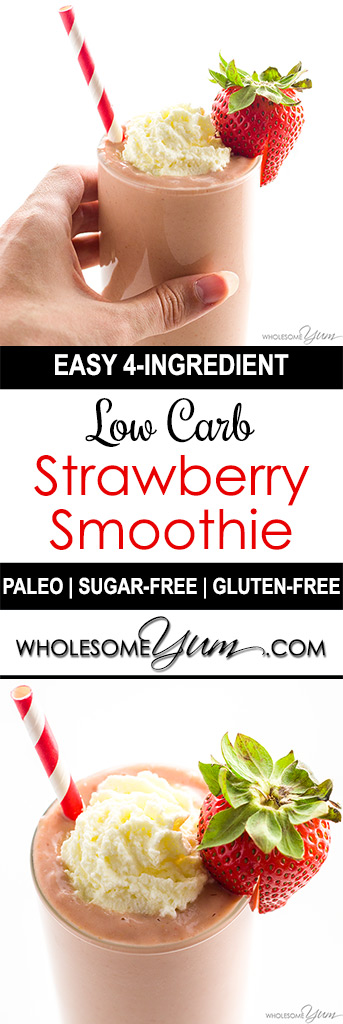 Low Carb Strawberry Smoothie - 3 Ingredients (Keto, Paleo, Sugar-free) - This easy, sugar-free low carb strawberry smoothie recipe requires just 3 common ingredients! You can make it in only a couple minutes.