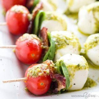 Caprese Salad Skewers with Pesto & Bacon (Tomato Basil Skewers)