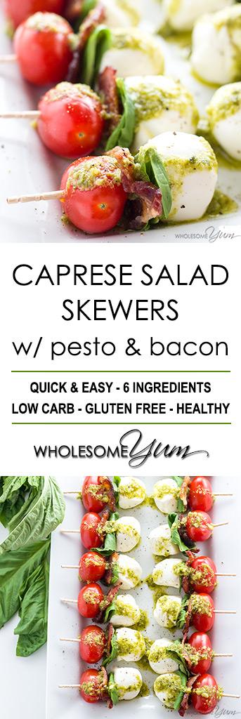Caprese Salad Skewers with Pesto & Bacon (Tomato Basil Skewers)