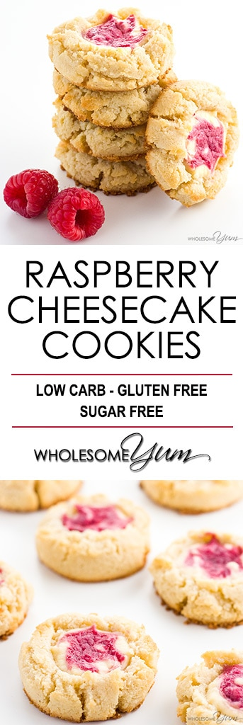 Cheesecake Cookies Recipe (Low Carb Raspberry Cheesecake Cookies) - These easy raspberry cheesecake thumbprint cookies are gluten-free, sugar-free & low carb. A cream cheese shortbread cookie with a raspberry swirl cheesecake center!