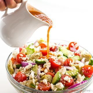 Mediterranean Salad Recipe with Sun-dried Tomato Vinaigrette