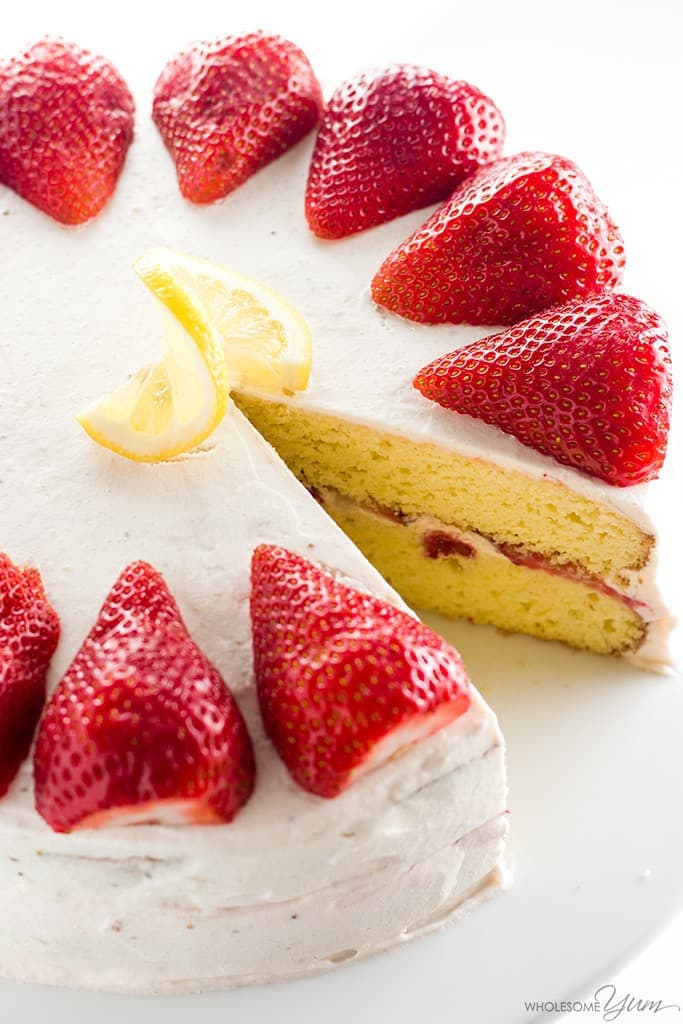 Strawberry Lemonade Cake Recipe (Low Carb, Gluten-free, Sugar-free) - This easy homemade strawberry lemonade cake recipe needs 20 minutes prep time & 10 ingredients. No one will guess it's low carb, sugar-free & gluten-free!