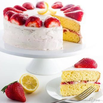 Strawberry Lemonade Cake Recipe (Low Carb, Gluten-free, Sugar-free) - This easy homemade strawberry lemonade cake recipe needs 20 minutes prep time & 10 ingredients. No one will guess it's low carb, sugar-free & gluten-free! Detail: strawberry-lemonade-cake-recipe-low-carb-gluten-free-sugar-free-img_4335