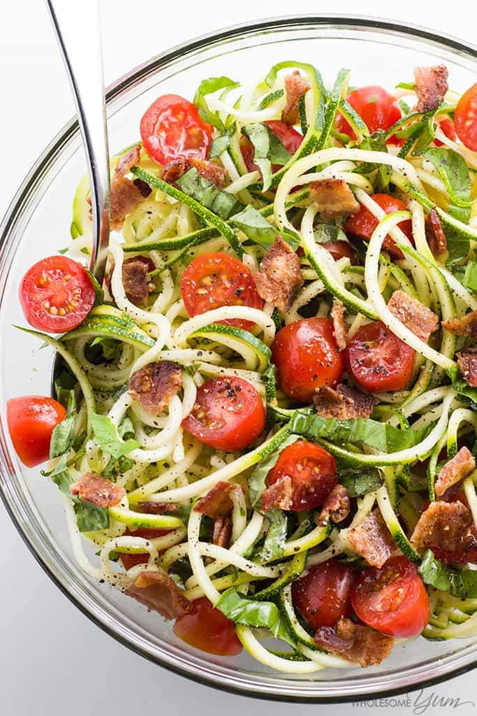 Zucchini Noodle Salad Recipe with Bacon & Tomatoes (Low Carb, Paleo) - This cold zucchini noodle salad recipe is a delicious, healthy way to enjoy raw spiralized zucchini noodles. Quick & easy with common ingredients!