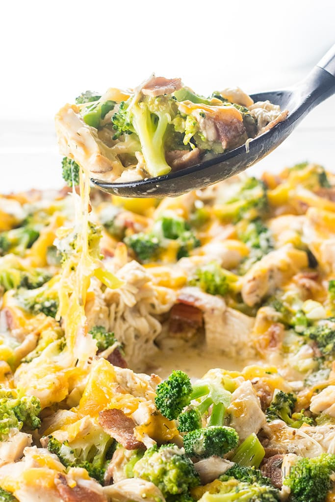 Chicken Bacon Ranch Casserole Recipe (Quick & Easy) - A low carb, cheesy chicken bacon ranch casserole recipe that the whole family will love. Quick and easy with just 7 common ingredients, 5 minutes prep, and options for 2 ways to make it.