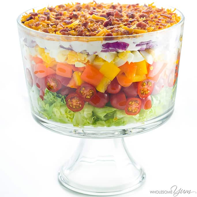 7-Layer Salad Recipe with Mayonnaise (Quick & Easy) - This quick & easy 7-layer salad recipe with mayonnaise takes just 15 minutes to assemble and is the perfect 24 hour salad made in advance. Healthy & simple!