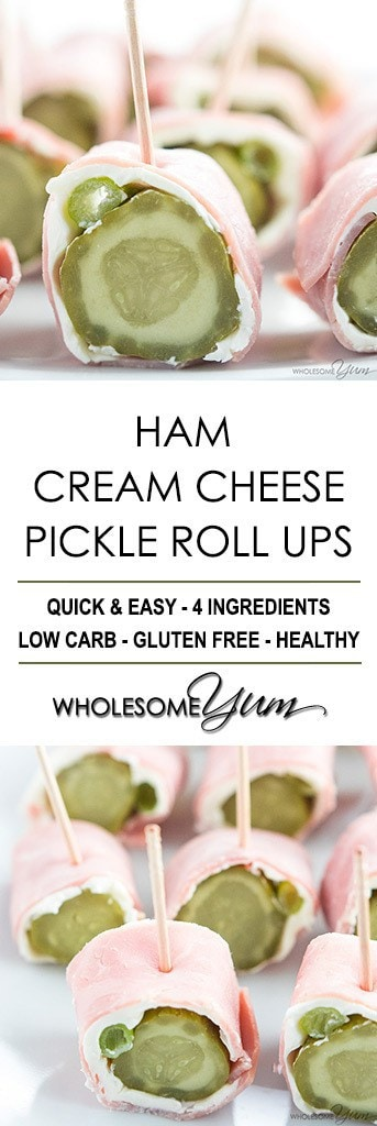 Ham Roll Ups Recipe - Ham Cream Cheese Pickle Roll Ups - Dill pickle ham roll ups are quick & easy. If you want a simple, low carb, gluten-free snack or appetizer, make these ham cream cheese pickle roll ups!