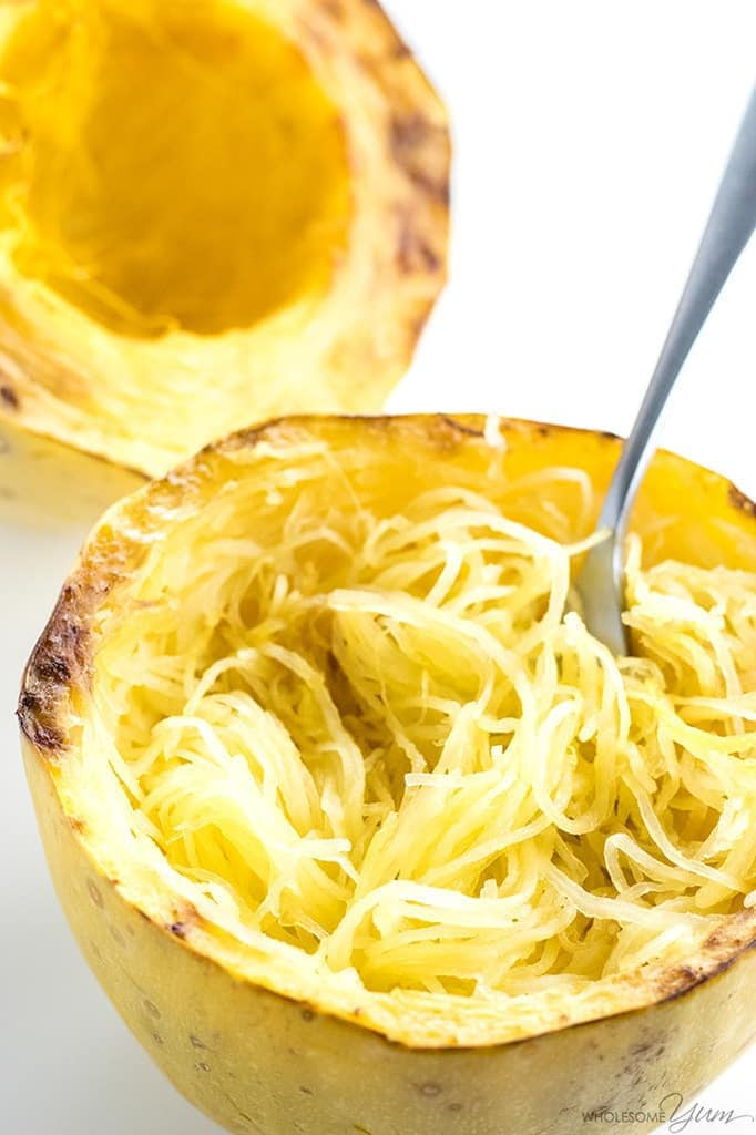 How To Bake Spaghetti Squash in the Oven (Whole or Cut in Half) - How to cook spaghetti squash fast! Use this FASTER way to bake spaghetti squash in the oven - whole or cut in half - for any spaghetti squash recipe.