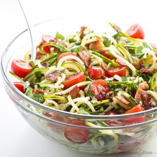 Zucchini Noodle Salad Recipe with Bacon & Tomatoes (Low Carb, Paleo)