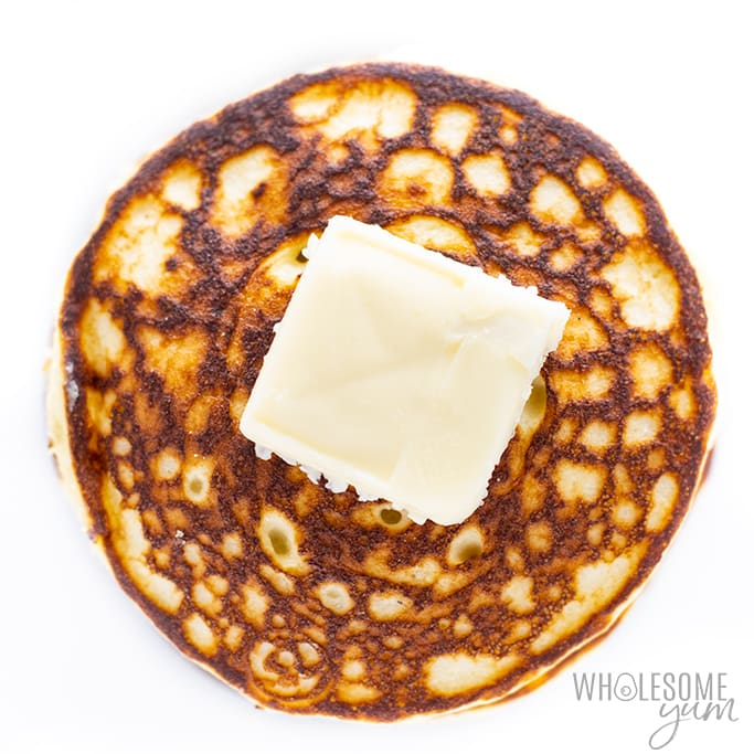 Coconut flour pancakes with butter on top