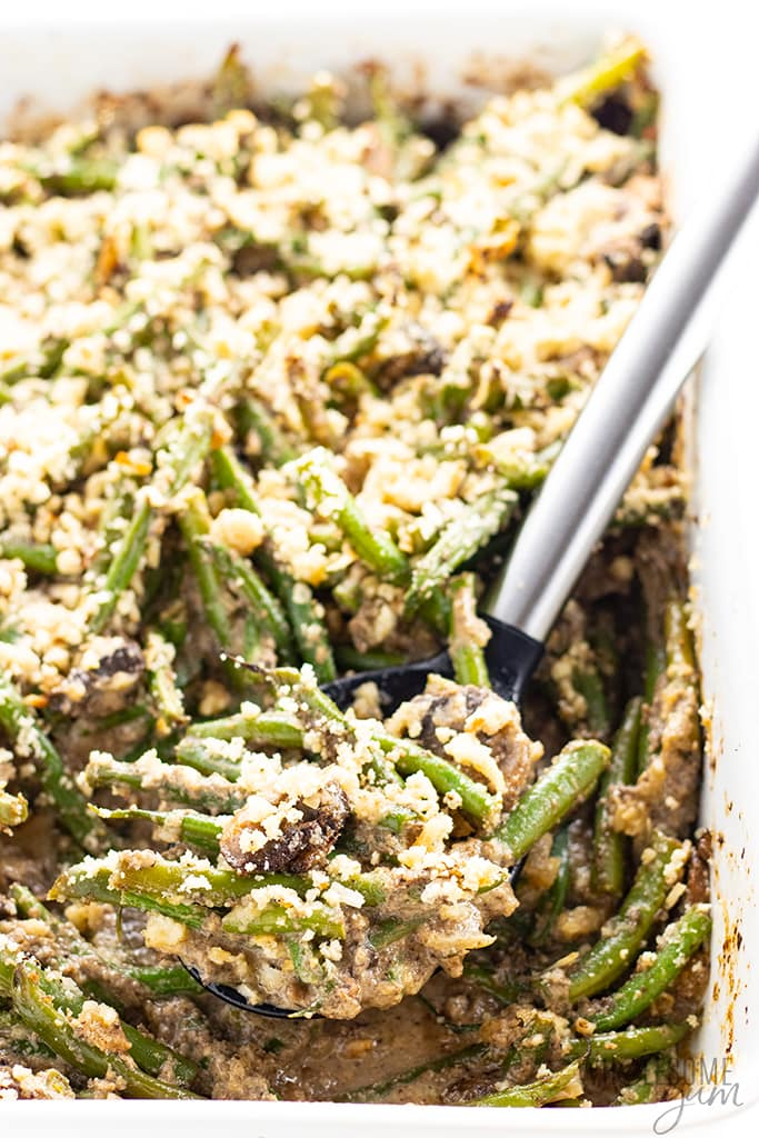 healthy green bean casserole in a casserole dish
