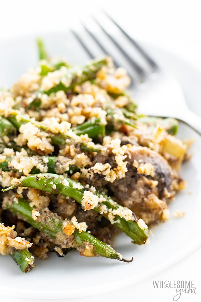 low carb green bean casserole on a plate ready to eat