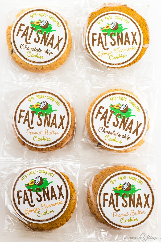 Fat Snax Review - Low Carb Cookies to Buy - Fat Snax are organic, paleo, low carb cookies you can buy. Read the review and grab a discount code from Wholesome Yum!
