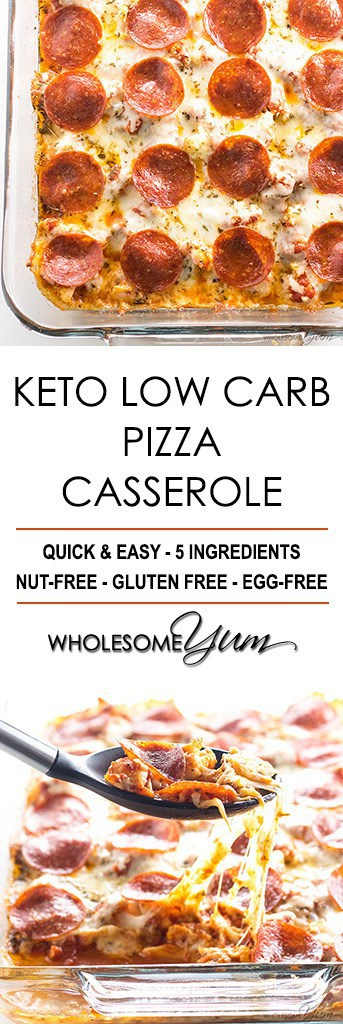 Keto Low Carb Pizza Casserole Recipe (Easy) - 5 Ingredients - This easy keto low carb pizza casserole recipe requires just 5 ingredients. Find out how to make a delicious cauliflower pizza casserole - no crust needed!