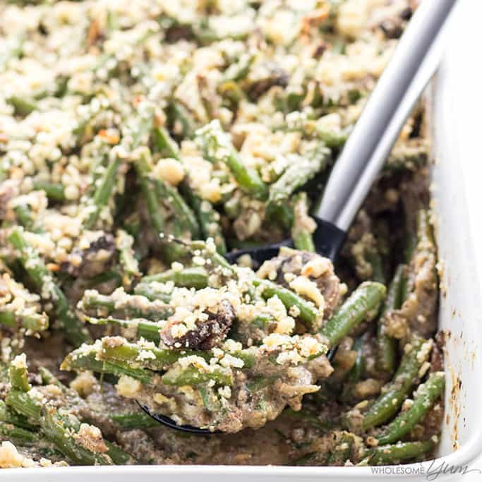 Low Carb Gluten Free Green Bean Casserole Recipe (Quick & Easy) - An easy, gluten-free green bean casserole recipe with just a few ingredients! You can make this low carb green bean casserole ahead, too.