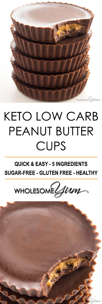 Sugar-Free Keto Peanut Butter Cups Recipe - 5 Ingredients - These sugar-free keto peanut butter cups are just like real ones! You'll love this easy low carb peanut butter cup recipe made with 5 ingredients.