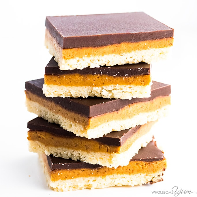 chocolate peanut butter bars stacked