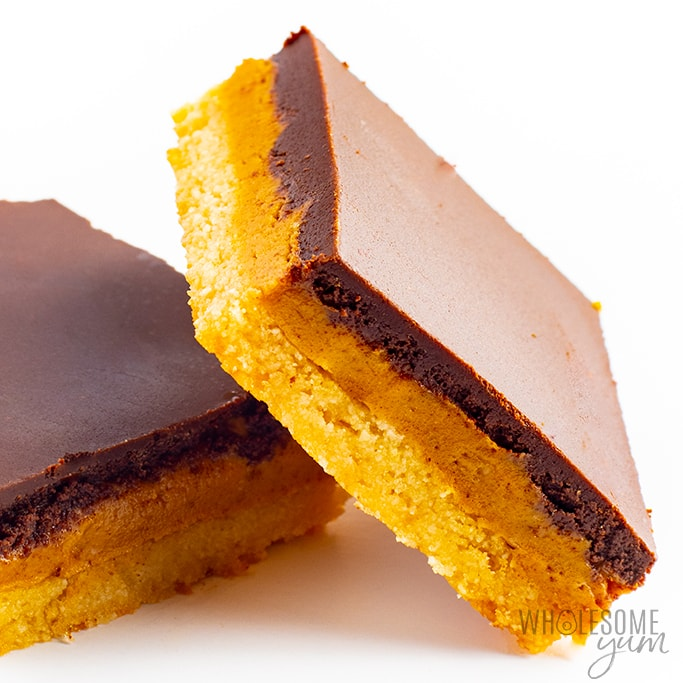 Two keto peanut butter bars - close up