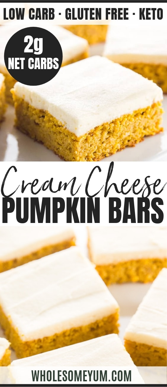 Low Carb Healthy Pumpkin Bars with Cream Cheese Frosting - Pinterest Image