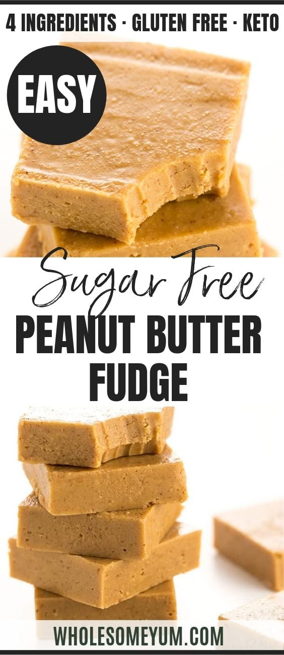 Sugar-Free Keto Low Carb Peanut Butter Fudge - Pinterest image