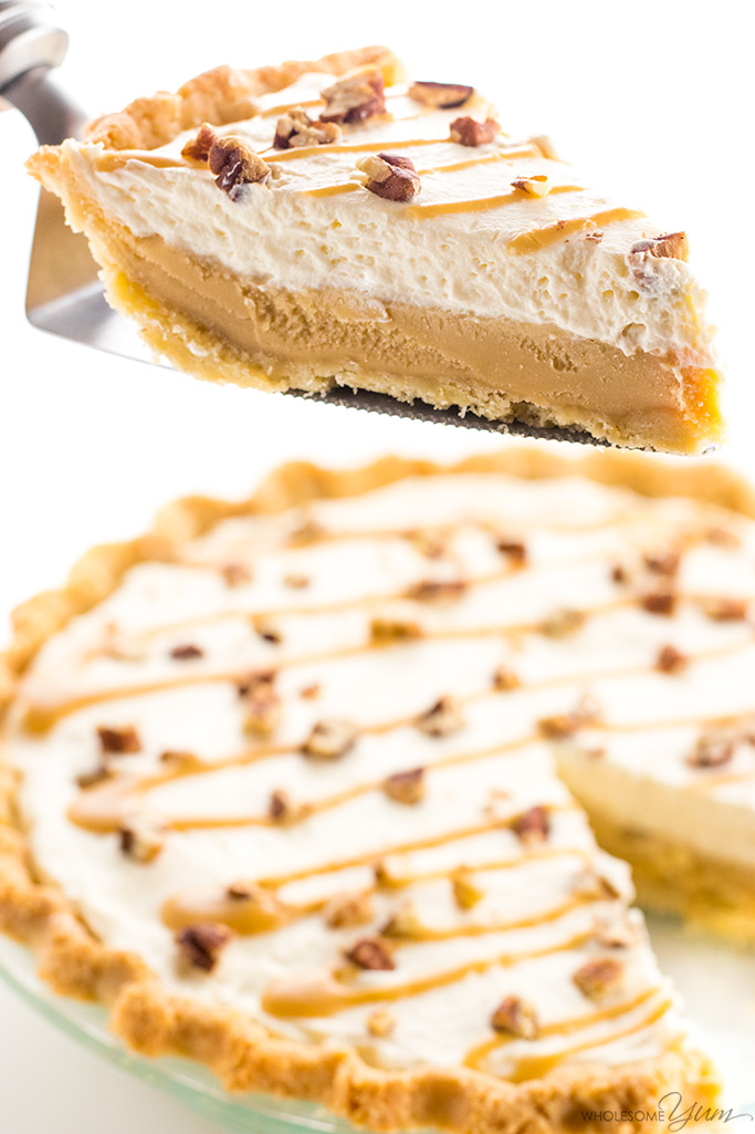 Easy Low Carb Salted Caramel Pie Recipe - No one will guess this easy salted pecan caramel pie is gluten-free & sugar-free. With just a few ingredients, it'll be the best low carb pie you've tried!