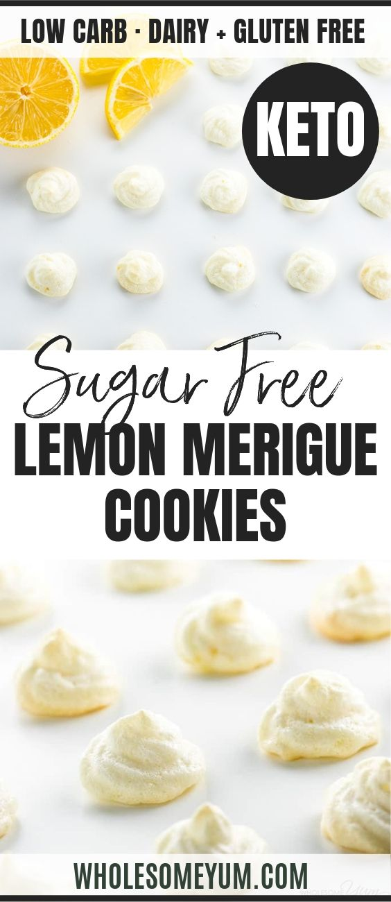 Easy Sugar-Free Lemon Meringue Cookies - Pinterest image