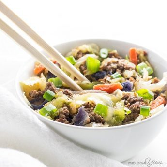 keto egg roll in a bowl with chopsticks
