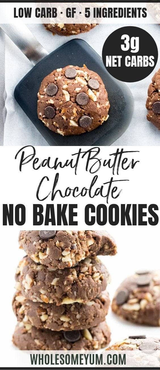 Easy Low Carb Peanut Butter Chocolate No Bake Cookies - Pinterest image