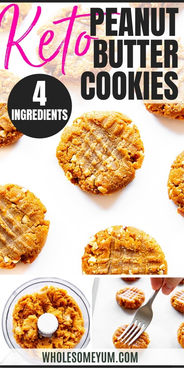Keto peanut butter cookies recipe pin