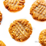 Keto peanut butter cookies on a white surface