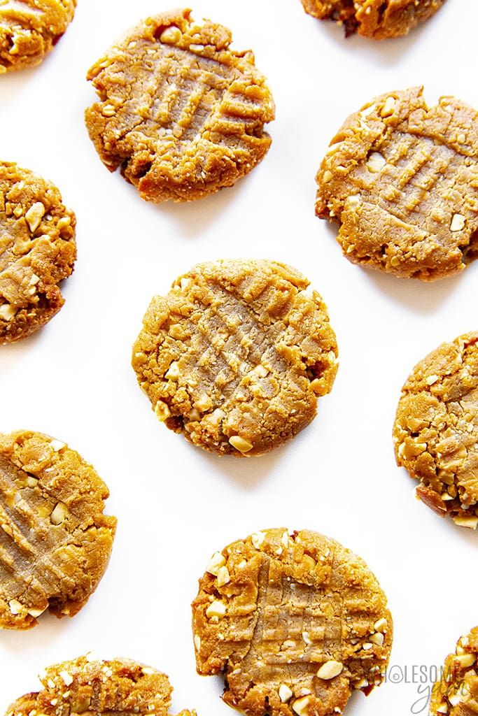 Low carb peanut butter cookies on white background