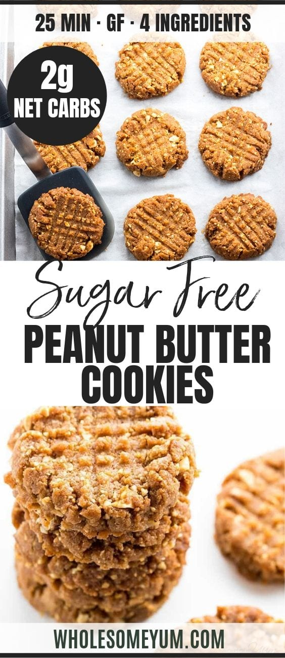 Sugar-Free Low Carb Peanut Butter Cookies - Pinterest image