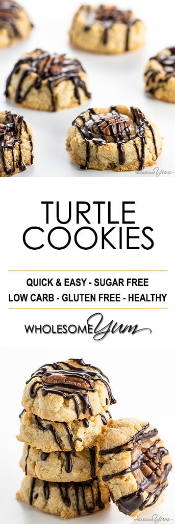 Thumbprint Caramel Pecan Turtle Cookies Recipe - An EASY caramel pecan turtle cookies recipe that looks and tastes impressive! No one will believe these thumbprint cookies are sugar-free & gluten-free.