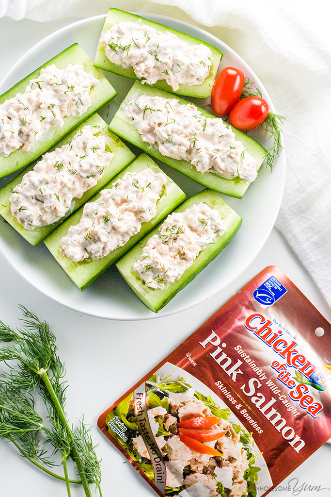 Salmon Stuffed Cucumbers Appetizers With Cream Cheese - If you're looking for healthy cucumber snacks, try salmon stuffed cucumbers! With just 6 common ingredients, they are quick & easy cucumber appetizers, too.