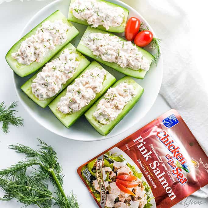 Salmon Stuffed Cucumbers Appetizers With Cream Cheese - If you're looking for healthy cucumber snacks, try salmon stuffed cucumbers! With just 6 common ingredients, they are quick & easy cucumber appetizers, too. Detail: salmon-stuffed-cucumbers-appetizers