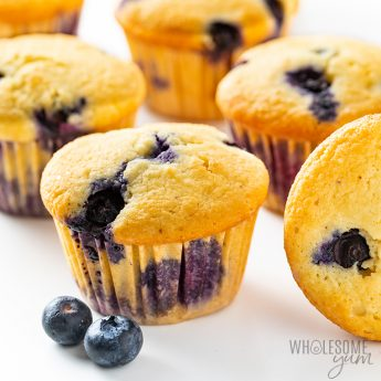 Close up of almond flour keto blueberry muffins