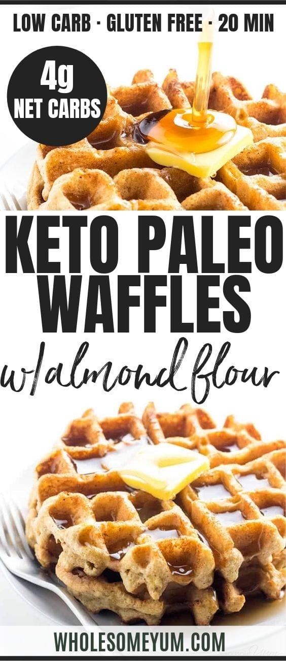 Keto Paleo Almond Flour Waffles - Pinterest image