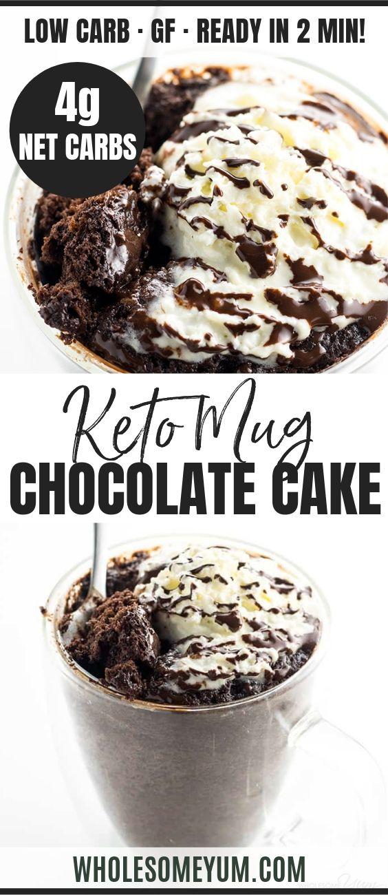 Low Carb Paleo Keto Chocolate Mug Cake Recipe - 6 Ingredients | Keto chocolate mug cakeis ready in just 2 min, using 6 ingredients! This low carb chocolate mug cake is paleo + gluten free w 4g net carbs! #wholesomeyum #lowcarb #keto #paleo #mugcake #chocolate