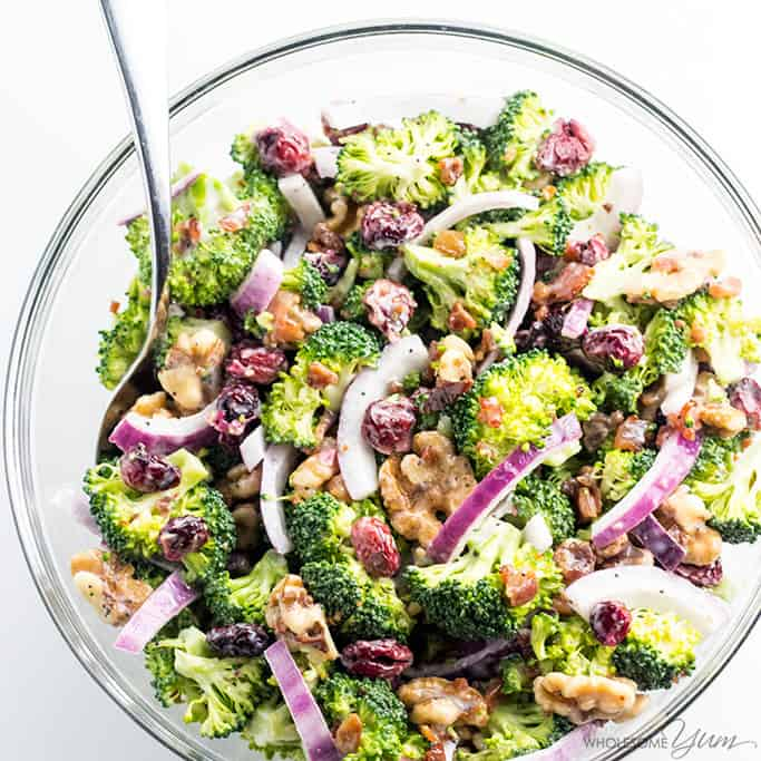 Easy Broccoli Cranberry Salad Recipe Video Wholesome Yum