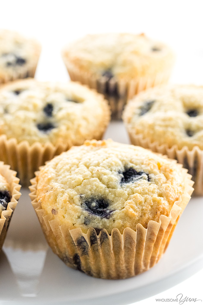 Keto Low Carb Paleo Blueberry Muffins Recipe with Almond Flour