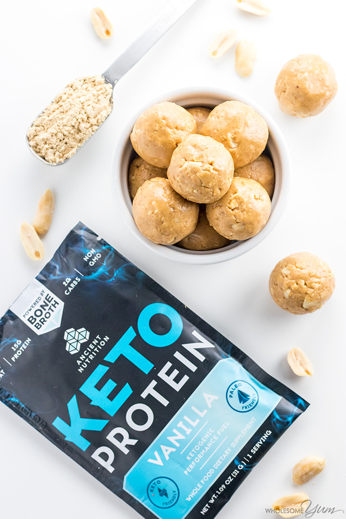 Keto Low Carb Peanut Butter Protein Balls Recipe 4 Ingredients