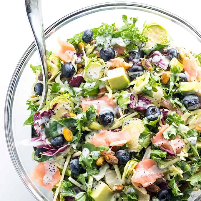 Salmon Kale Superfood Salad Recipe With Creamy Lemon Vinaigrette