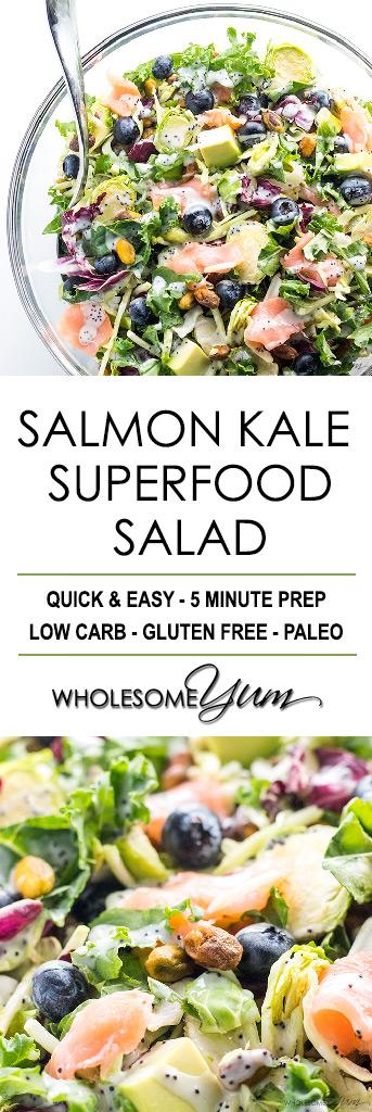 Salmon Kale Superfood Salad Recipe with Creamy Lemon Vinaigrette