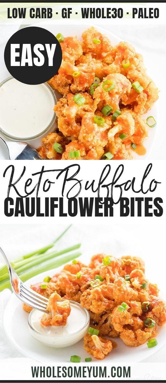 Baked Healthy Buffalo Cauliflower Bites - Pinterest image