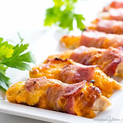 Delicious Easy Low Carb Meals - Recipes & Meal Ideas - Baked Bacon Wrapped Chicken Tenders Recipe - 3 Ingredients